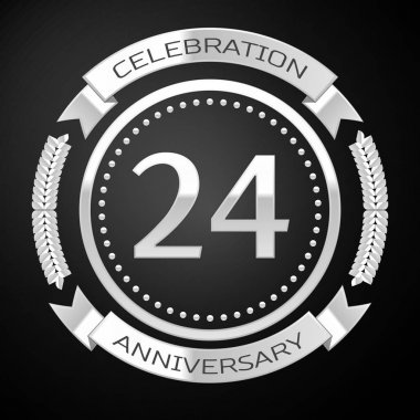 Twenty four years anniversary celebration with silver ring and ribbon on black background. Vector illustration