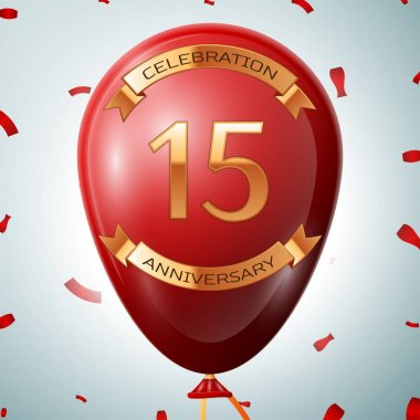 Red balloon with golden inscription fifteen years anniversary celebration and golden ribbons on grey background and confetti. Vector illustration