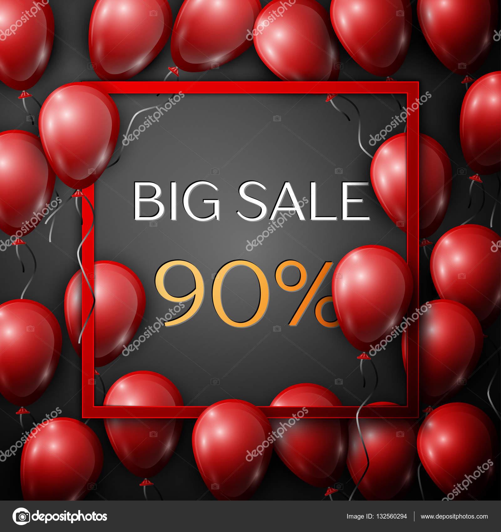 Rojo realista globos con texto gran venta 90% descuentos en marco ...