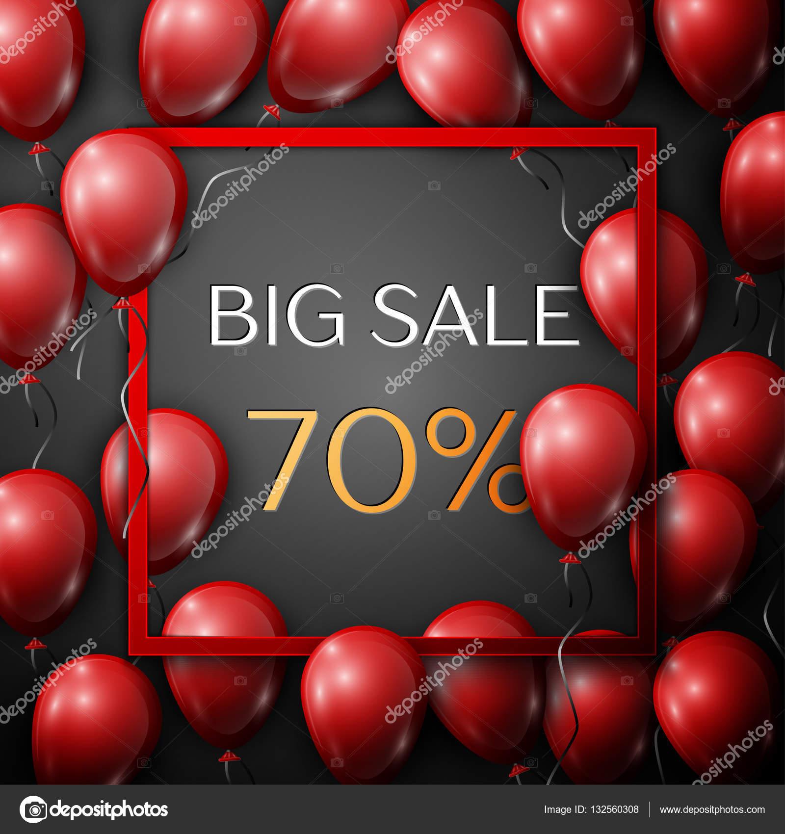 Realistische rote Luftballons mit Text Big Sale 70 Prozent Rabatt im ...