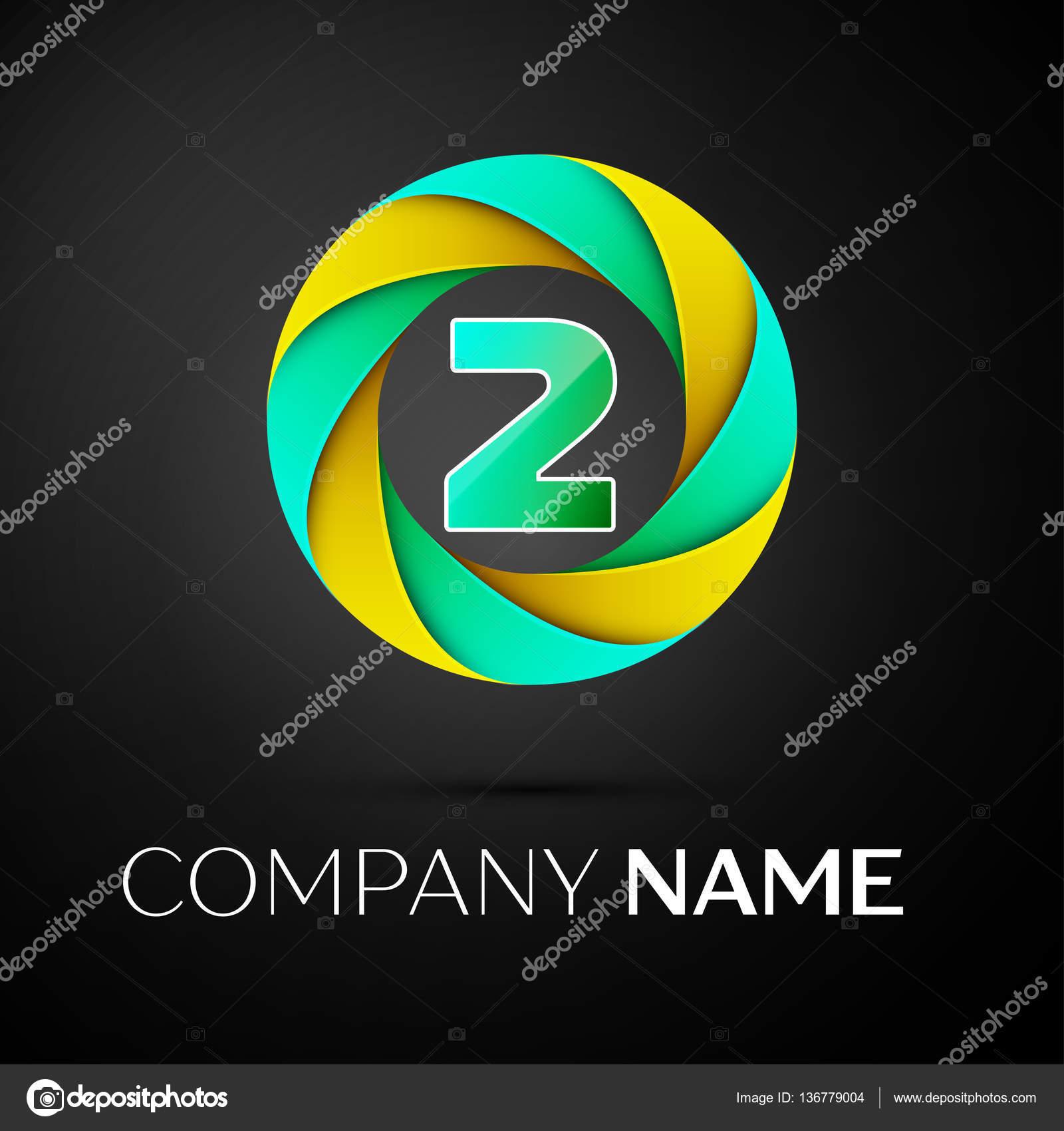 Slo Dv Vektorov Logo Symbol V Barevn Kruh Na Ernm Pozad