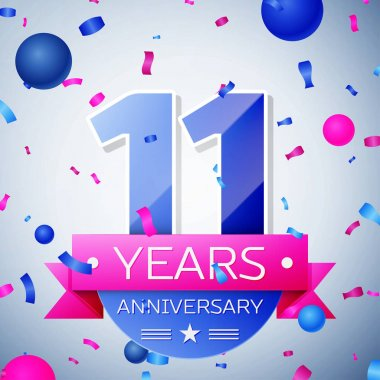 Eleven years anniversary celebration on grey background. Anniversary ribbon