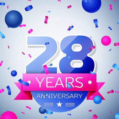 Twenty eight years anniversary celebration on grey background. Anniversary ribbon