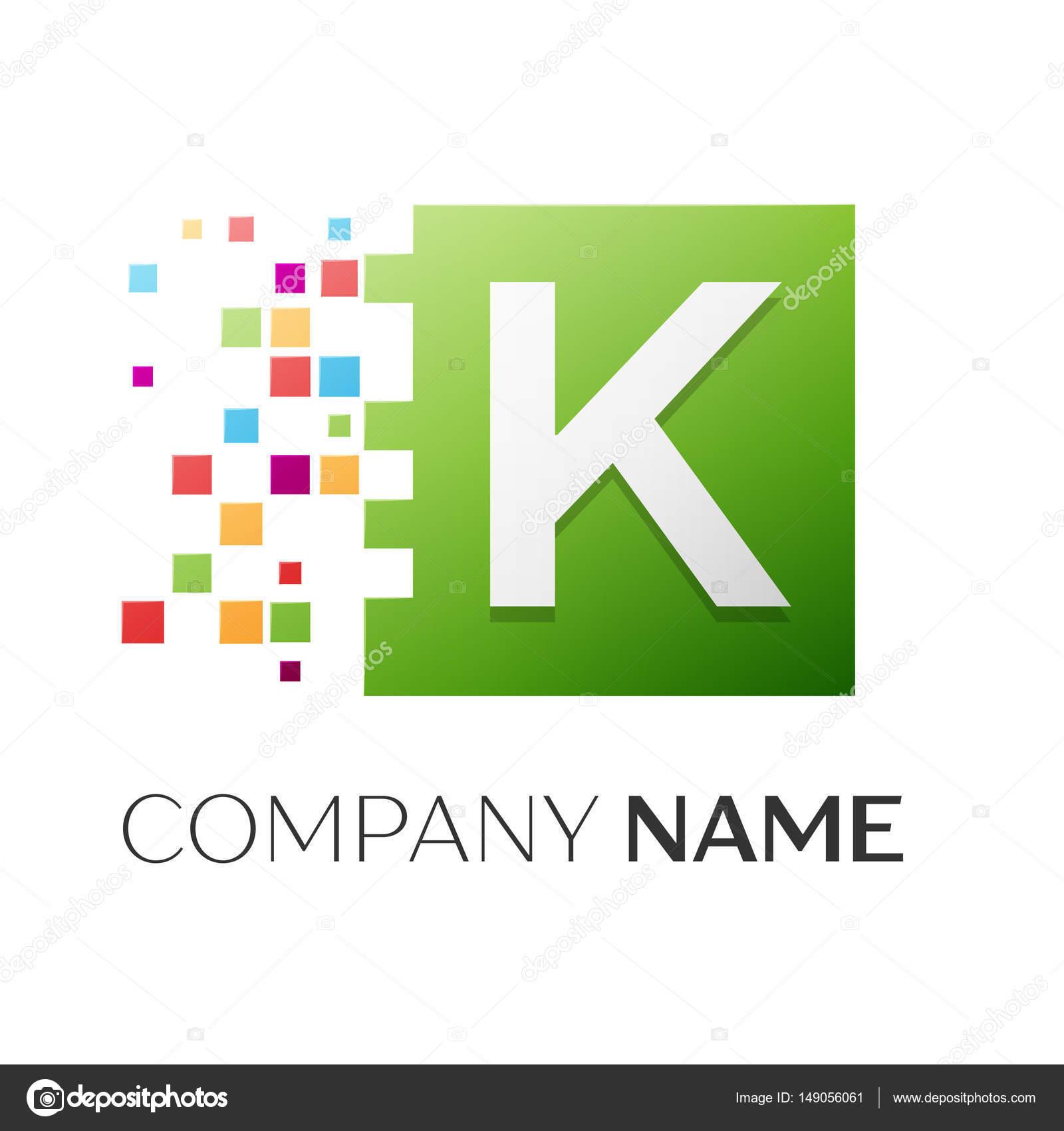 Buchstabe K Vektor-Logo Symbol auf dem bunten Platz mit zerstörten ...