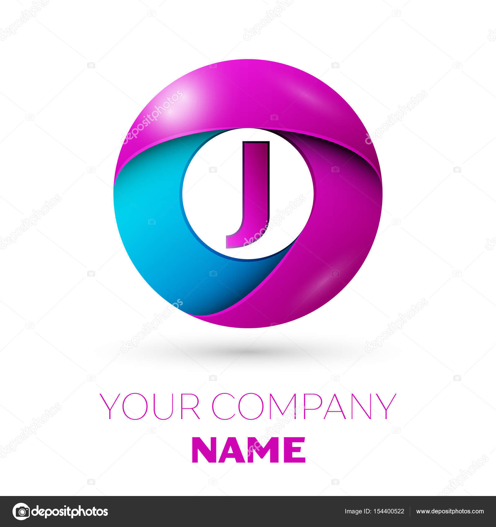 Letter J Vector Logo Symbol In The Colorful Circle On White