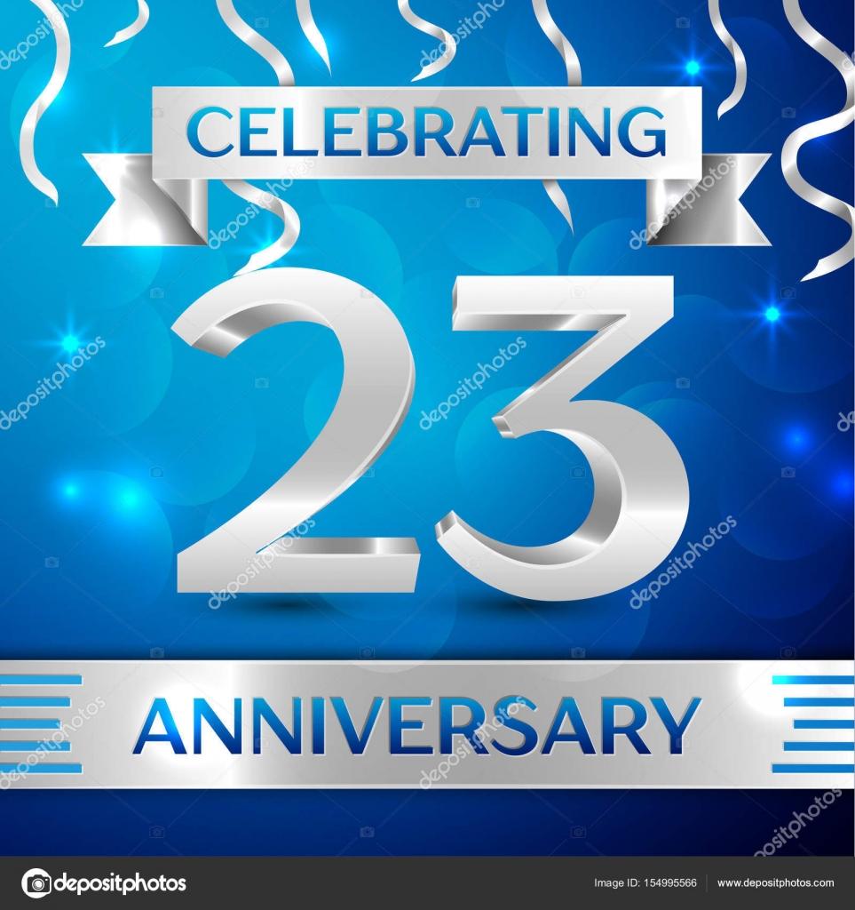 5bbdcee92 Confeti y cinta de plata sobre fondo azul. Elementos de plantilla Vector  coloridos para tu fiesta de cumpleaños. Cinta de aniversario - invitaciones  azules ...
