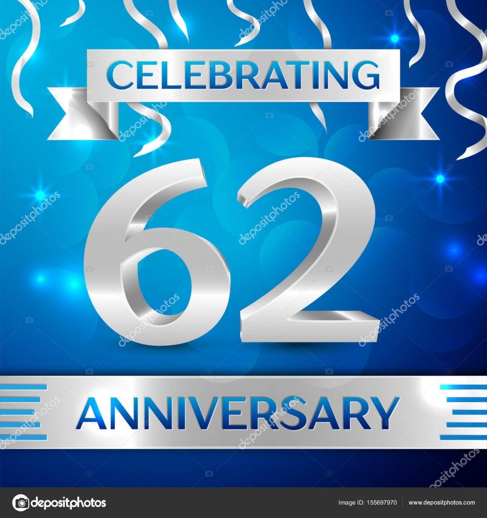 f43a91337 Sesenta y dos años diseño de celebración de aniversario. Confeti y cinta de  plata sobre fondo azul. Elementos de plantilla Vector coloridos para tu  fiesta ...