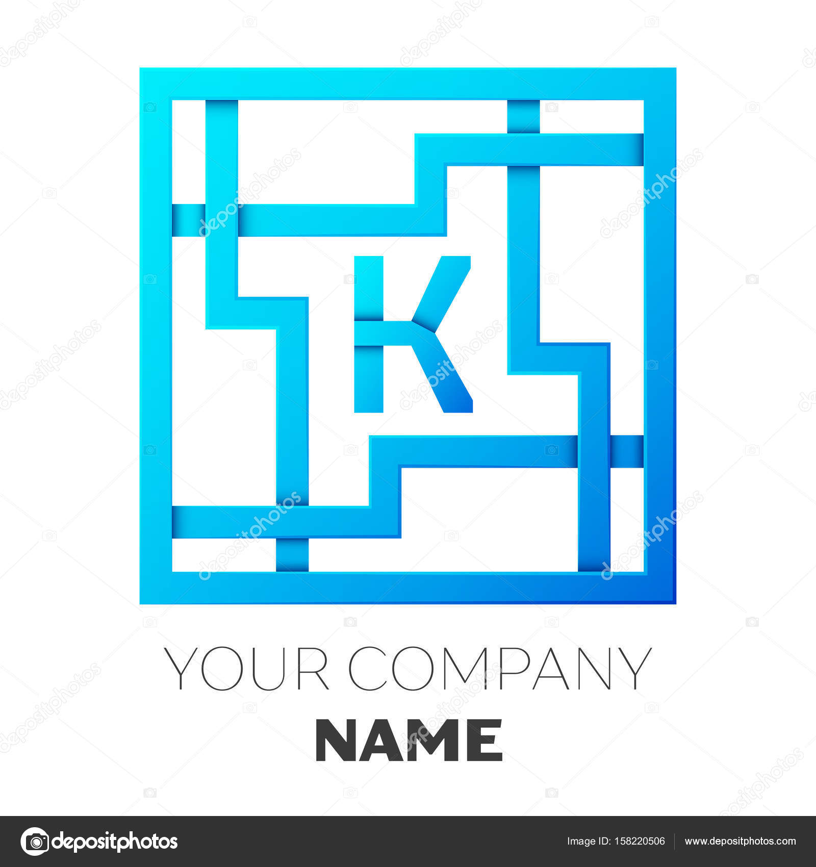 realistic letter k vector logo symbol in the colorful square maze on