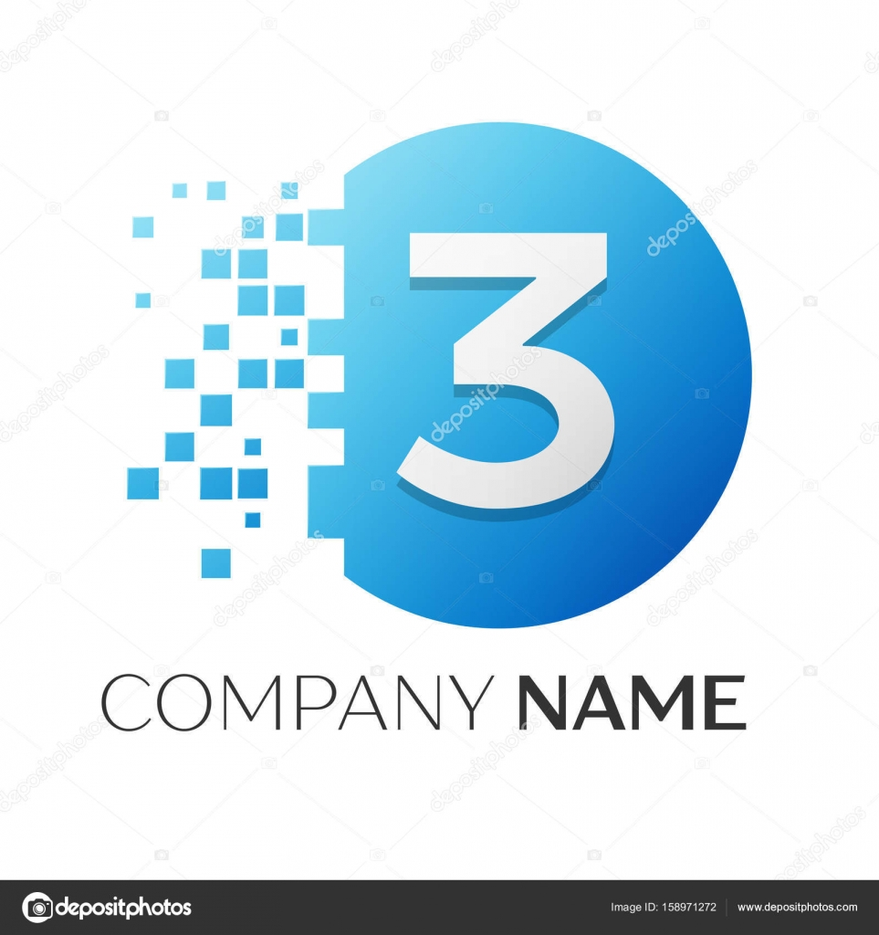 Realistic number three vector logo symbol in the colorful circle ...