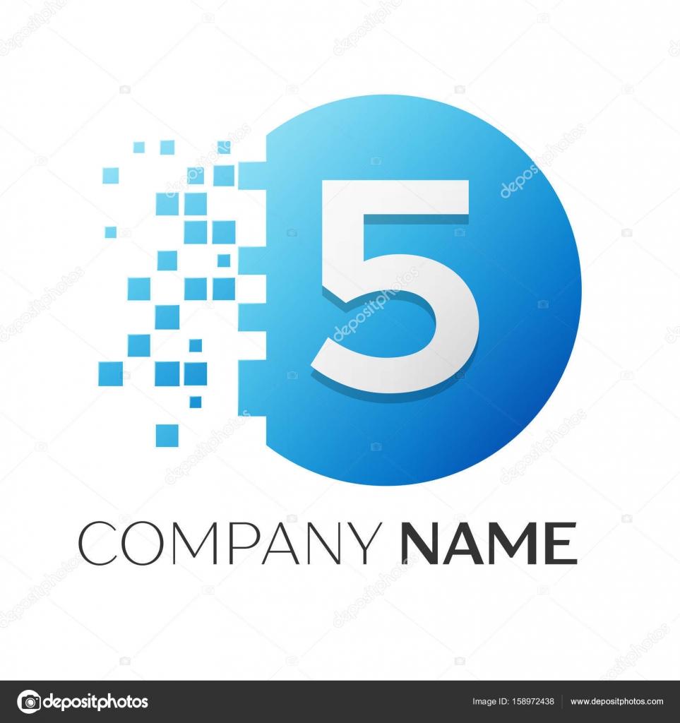 Realistische Nummer fünf Vektor-Logo Symbol in den bunten Kreis mit ...