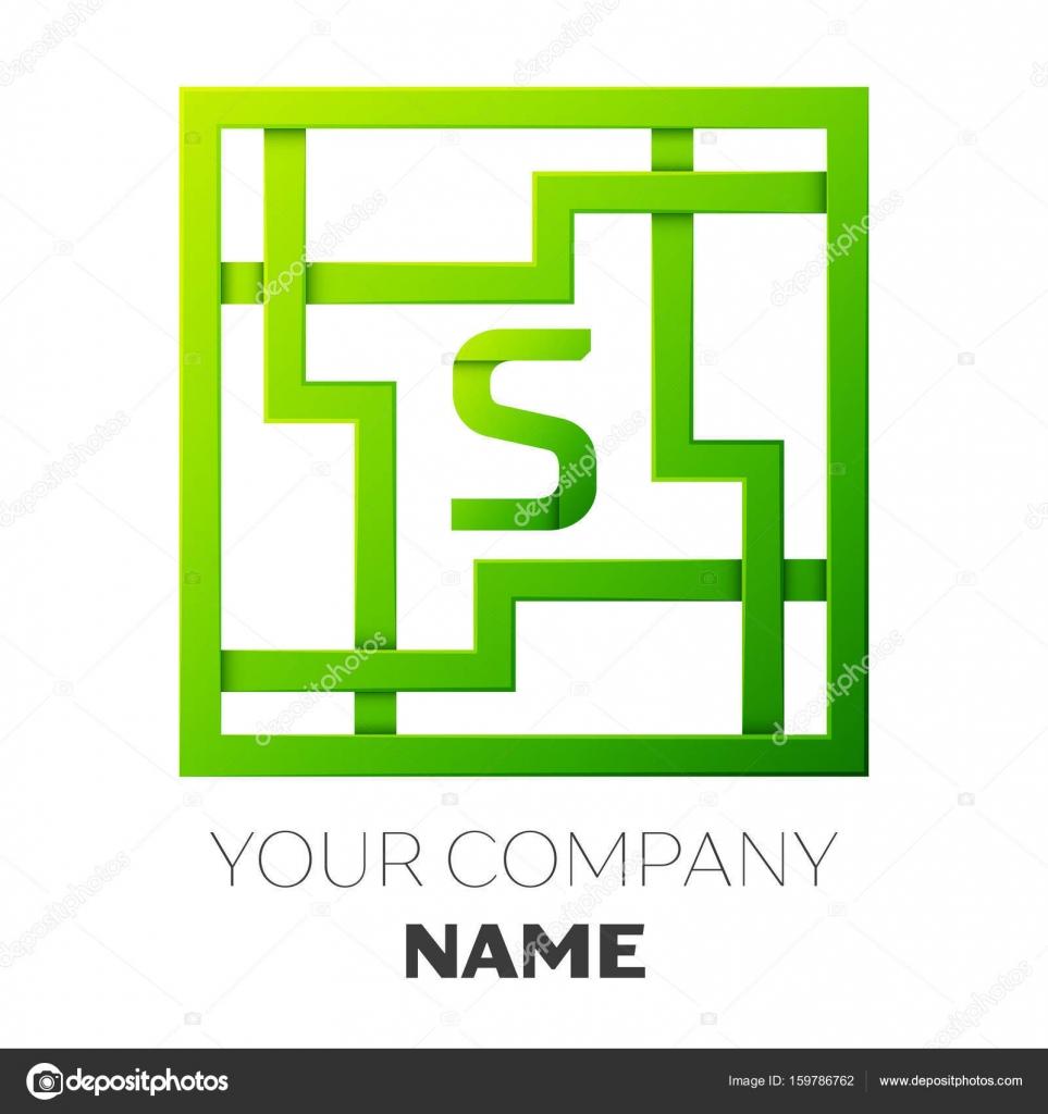 Realista letra S vector logo símbolo en el colorido laberinto ...