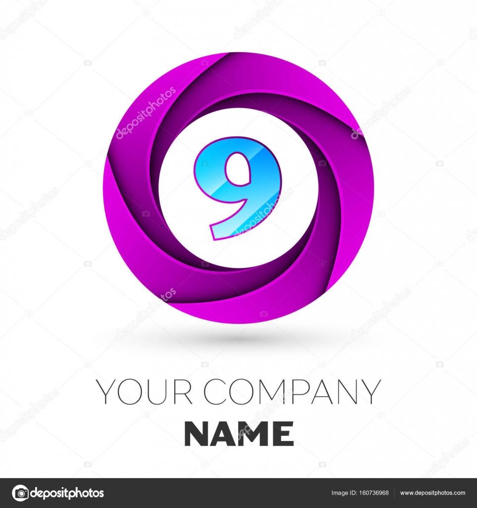 Realistische Zahl neun Vektor-Logo Symbol im bunten Kreis auf weißem ...