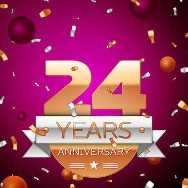 Realistic Twenty four Years Anniversary Celebration Design. Golden numbers and silver ribbon, confetti on purple background. Colorful Vector template elements for your birthday party