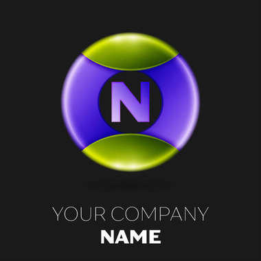 Realistic Letter N vector logo symbol in the colorful circle on black background. Vector template for your design
