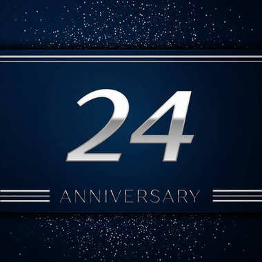 Realistic Twenty four Years Anniversary Celebration Logotype. Silver numbers and silver confetti on blue background. Colorful Vector template elements for your birthday party