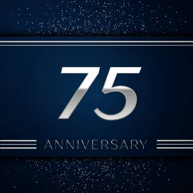 Realistic Seventy five Years Anniversary Celebration Logotype. Silver numbers and silver confetti on blue background. Colorful Vector template elements for your birthday party