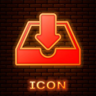Glowing neon Download inbox icon isolated on brick wall background. Vector Illustration
