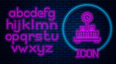 Glowing neon Scale with cardboard box icon isolated on brick wall background. Logistic and delivery. Weight of delivery package on a scale. Neon light alphabet. Vector Illustration