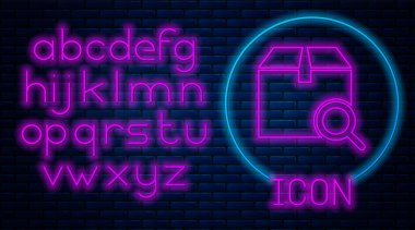 Glowing neon Search package icon isolated on brick wall background. Parcel tracking symbol. Magnifying glass and cardboard box. Logistic and delivery. Neon light alphabet. Vector Illustration