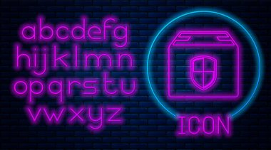 Glowing neon Delivery pack security symbol with shield icon isolated on brick wall background. Delivery insurance. Insured cardboard boxes beyond the shield. Neon light alphabet. Vector Illustration