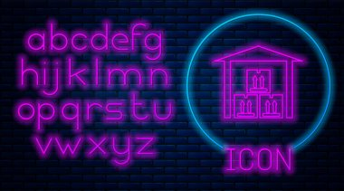 Glowing neon Warehouse icon isolated on brick wall background. Neon light alphabet. Vector Illustration