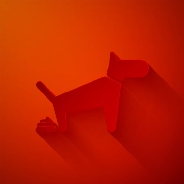 Paper cut Dog pooping icon isolated on red background. Dog goes to the toilet. Dog defecates. The concept of place for walking pets. Paper art style. Vector Illustration clip art vector