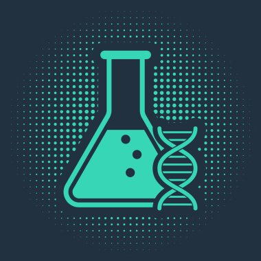 Green DNA research, search icon isolated on blue background. Genetic engineering, genetics testing, cloning, paternity testing. Abstract circle random dots. Vector Illustration