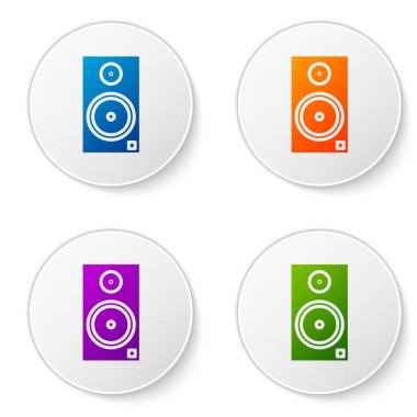 Color Stereo speaker icon isolated on white background. Sound system speakers. Music icon. Musical column speaker bass equipment. Set icons in circle buttons. Vector Illustration
