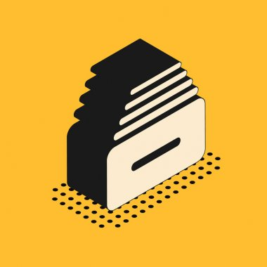 Isometric Drawer with documents icon isolated on yellow background. Archive papers drawer. File Cabinet Drawer. Office furniture. Vector Illustration
