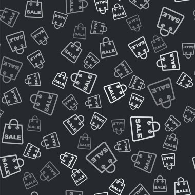 Grey Shoping bag with an inscription Sale icon isolated seamless pattern on black background. Handbag sign. Woman bag icon. Female handbag sign. Vector Illustration