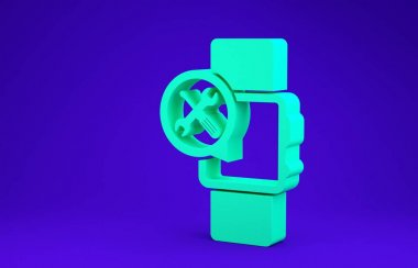 Green Smartwatch with screwdriver and wrench icon isolated on blue background. Adjusting, service, setting, maintenance, repair, fixing. Minimalism concept. 3d illustration 3D render