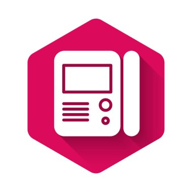 White House intercom system icon isolated with long shadow. Pink hexagon button. Vector Illustration
