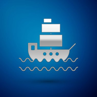 Silver Ship icon isolated on blue background. Vector Illustration