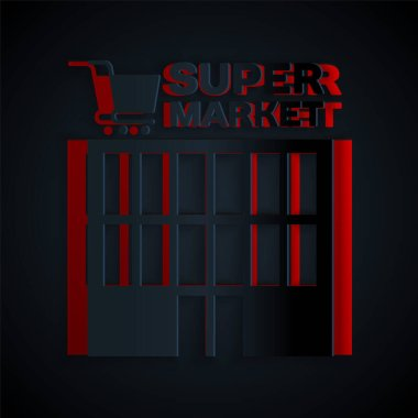 Paper cut Supermarket building with shopping cart icon isolated on black background. Shop or store. Mall building. Paper art style. Vector Illustration