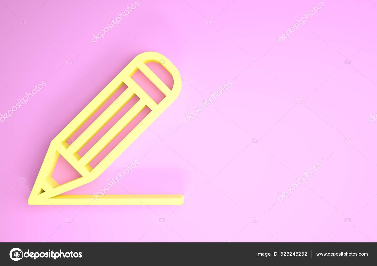 Yellow Pencil And Line Icon Isolated On Pink Background Education
