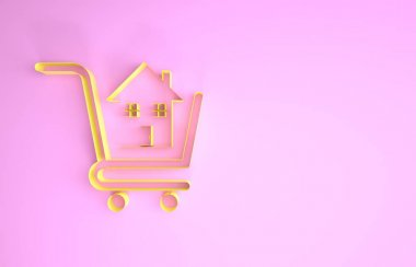 Yellow Shopping cart with house icon isolated on pink background. Buy house concept. Home loan concept, rent, buying a property. Minimalism concept. 3d illustration 3D render