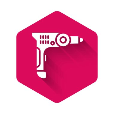 White Electric drill machine icon isolated with long shadow. Repair tool. Pink hexagon button. Vector Illustration