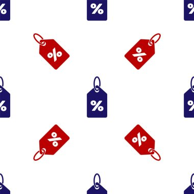 Blue and red Discount percent tag icon isolated seamless pattern on white background. Shopping tag sign. Special offer sign. Discount coupons symbol. Vector Illustration