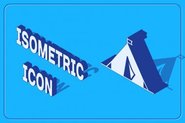Isometric Tourist tent with flag icon isolated on blue background. Camping symbol. Vector Illustration