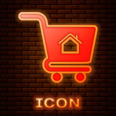 Glowing neon Shopping cart with house icon isolated on brick wall background. Buy house concept. Home loan concept, rent, buying a property. Vector Illustration