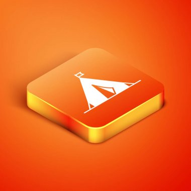 Isometric Tourist tent with flag icon isolated on orange background. Camping symbol. Vector Illustration