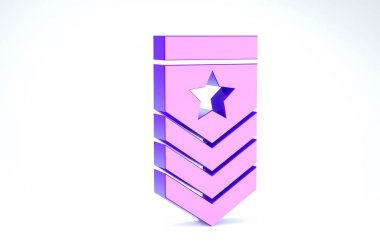 Purple Chevron icon isolated on white background. Military badge sign. 3d illustration 3D render