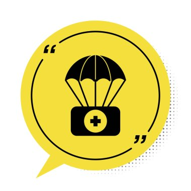 Black Parachute with first aid kit icon isolated on white background. Medical insurance. Yellow speech bubble symbol. Vector Illustration