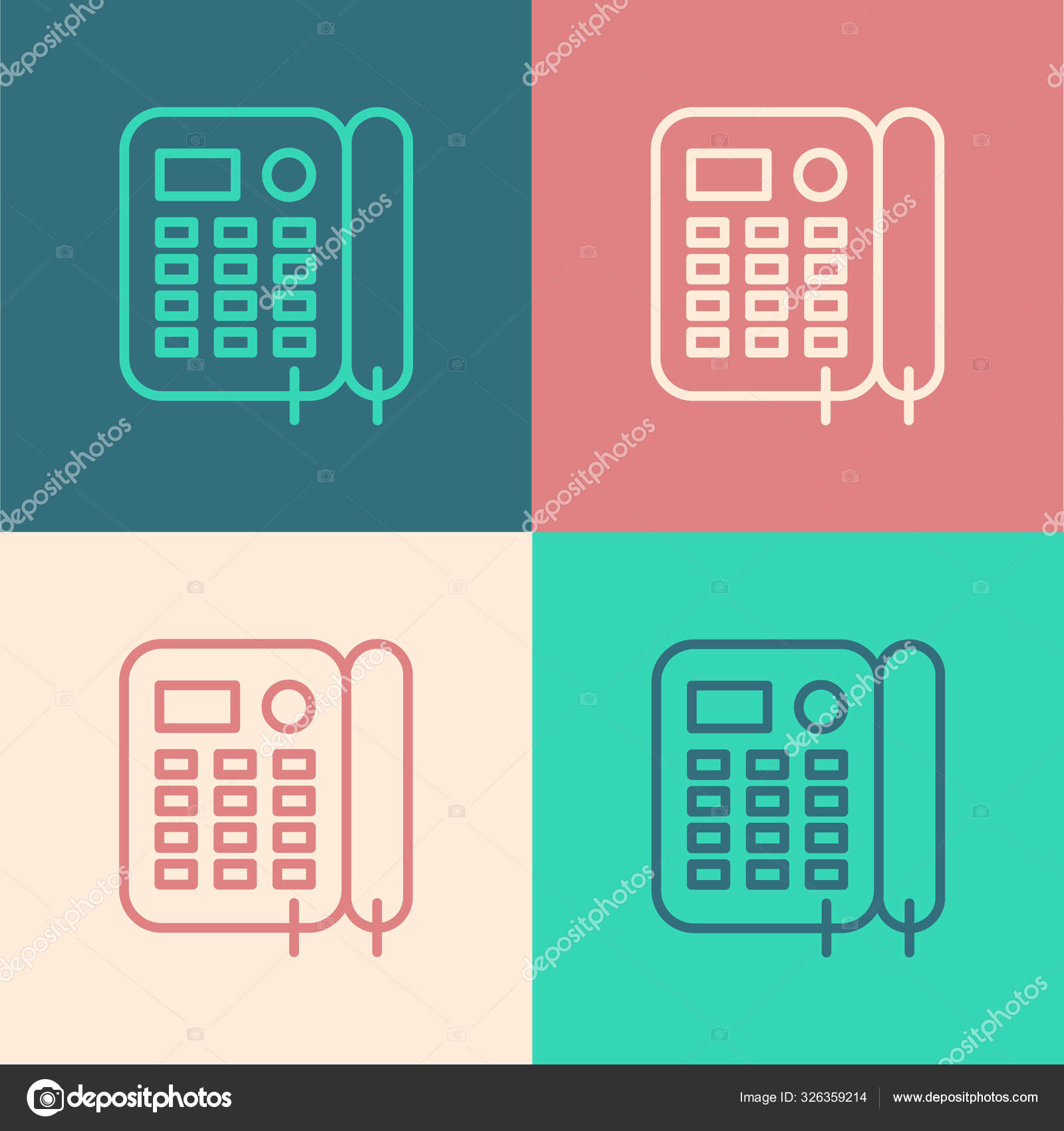 Color Line Telephone Icon Isolated Color Background Landline Phone