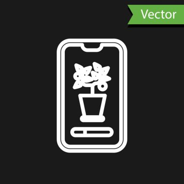 White line Smart control farming system mobile application icon isolated on black background.  Vector Illustration