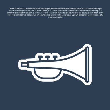 Blue line Musical instrument trumpet icon isolated on blue background. Vector Illustration