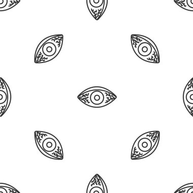 Grey line Reddish eye due to viral, bacterial or allergic conjunctivitis icon isolated seamless pattern on white background. Vector Illustration