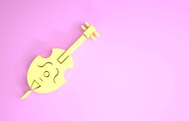Yellow Violin icon isolated on pink background. Musical instrument. Minimalism concept. 3d illustration 3D render