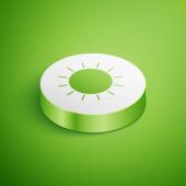 Izometrická ikona slunce izolovaná na zeleném pozadí. Tlačítko Bílého kruhu. Vektorová ilustrace