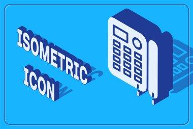 Isometric Telephone icon isolated on blue background. Landline phone. Vector Illustration